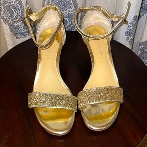 Sparkly gold strappy heels sz 8.5